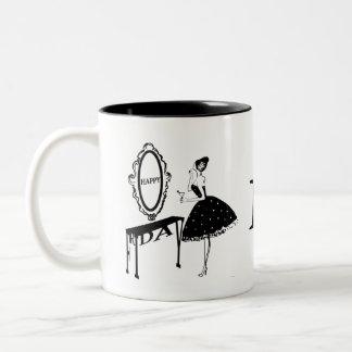 Happy Friday Fashion Illustraton Two-Tone Coffee Mug