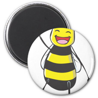 Happy Friendly Bee Saying Hi to You 6 Cm Round Magnet