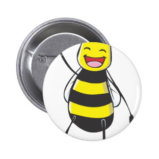 Happy Friendly Bee Saying Hi to You Button