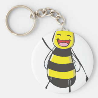 Happy Friendly Bee Saying Hi to You Basic Round Button Key Ring