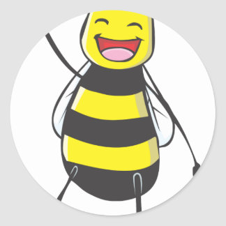 Happy Friendly Bee Saying Hi to You Sticker