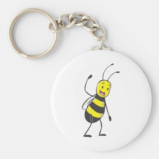Happy Friendly Bee Welcoming You Keychains