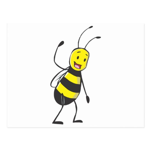 Happy Friendly Bee Welcoming You Postcard