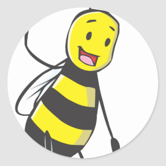 Happy Friendly Bee Welcoming You Round Sticker