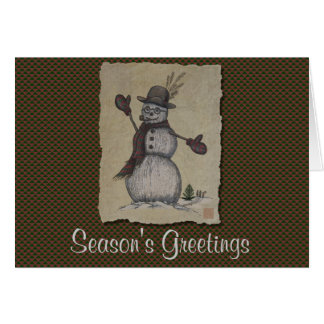 Happy Friendly Snowman Greeting Card