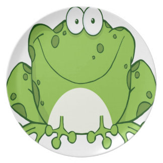 Happy Frog Cartoon Character Dinner Plate