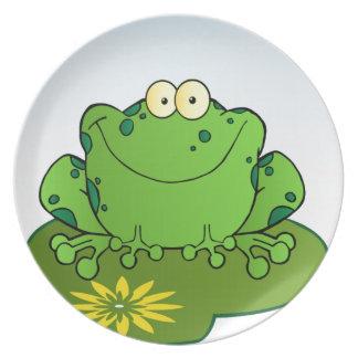 Happy Frog Cartoon Character Dinner Plates