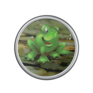 happy frog cartoon in pond speaker