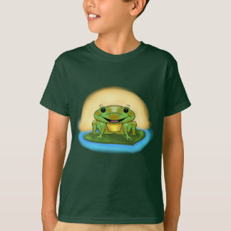 Happy Frog Floating on a Lily Pad boys T-Shirt