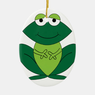 Happy frog smile peace and joy ceramic oval decoration