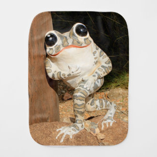 Happy frog with big eyes burp cloth