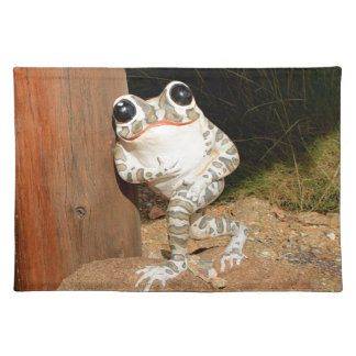 Happy frog with big eyes placemat