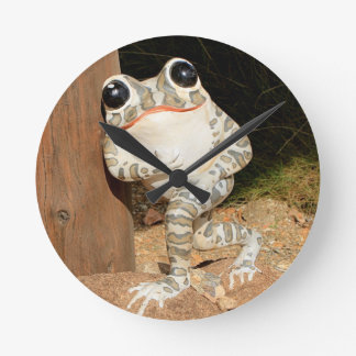 Happy frog with big eyes round clock