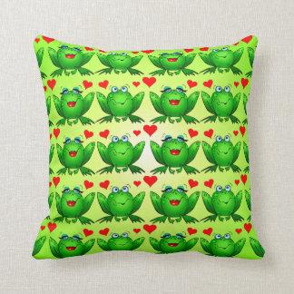 Happy Frogs Cartoon Love Hearts Green Cushion