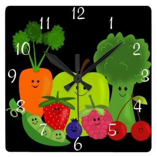 Happy Fruit and Veggies Wall Clock