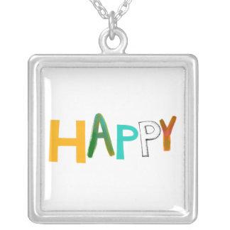 Happy fun colorful word art unique font design pendants