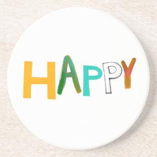 Happy fun colourful word art unique font design sandstone coaster