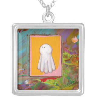Happy fun ghost art colorful modern painting square pendant necklace