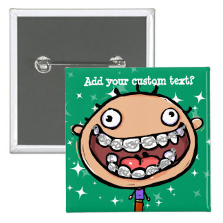 Happy, funny boy. Braces Big Smile. 15 Cm Square Badge