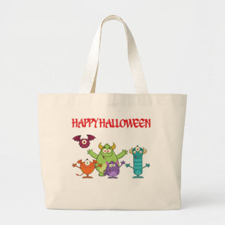 happy funny halloween monsters large tote bag