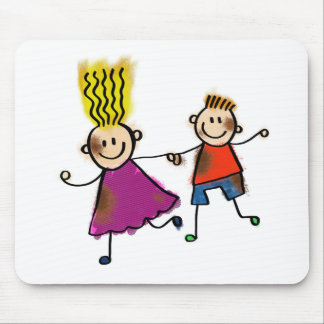 Happy Funny Kids Couple Drawing Doodle Cartoon Mouse Pad