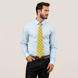 Happy Furry Face Yellow Cartoon Foulard Tie