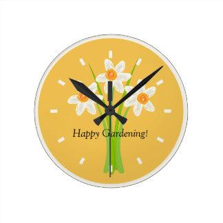 Happy Gardening Daffodils Lover Gardener Gift Wallclocks
