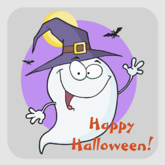 Happy Ghost Halloween Square Sticker