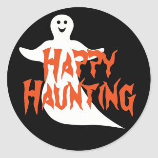 Happy Ghost Happy Haunting Classic Round Sticker