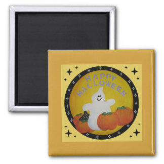 HAPPY GHOST SQUARE MAGNET