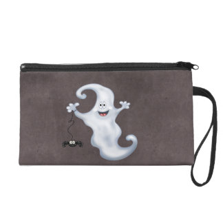 Happy Ghost with Spider Halloween Wristlet Purses