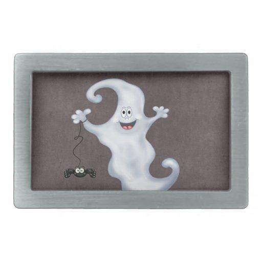 Happy Ghost with Spider Halloween Belt Buckle
