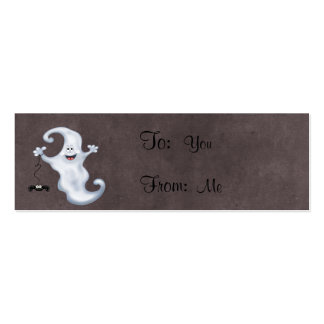 Happy Ghost with Spider Halloween Double-Sided Mini Business Cards (Pack Of 20)