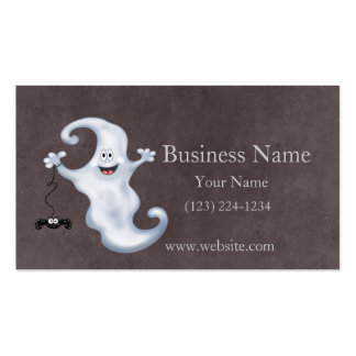 Happy Ghost with Spider Halloween Double-Sided Standard Business Cards (Pack Of 100)