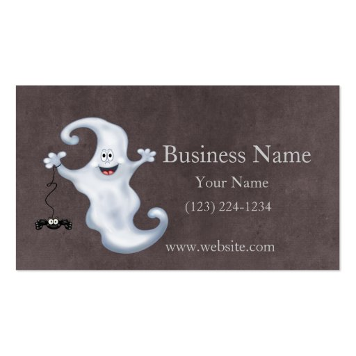 Happy Ghost with Spider Halloween Business Card Template