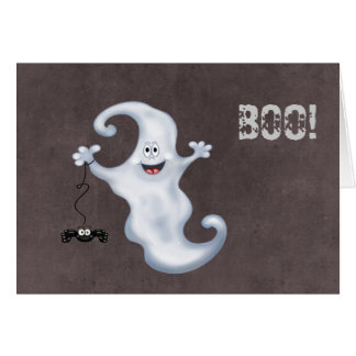 Happy Ghost with Spider Halloween Greeting Card