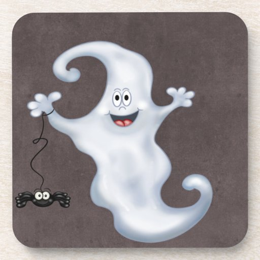 Happy Ghost with Spider Halloween Coasters