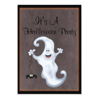 Happy Ghost with Spider Halloween 5x7 Paper Invitation Card