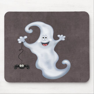 Happy Ghost with Spider Halloween Mouse Pad