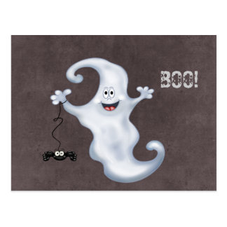 Happy Ghost with Spider Halloween Postcard