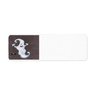 Happy Ghost with Spider Halloween Return Address Label