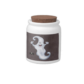 Happy Ghost with Spider Halloween Candy Jars