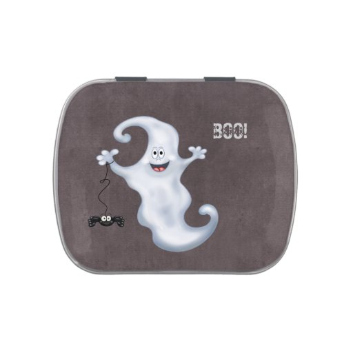 Happy Ghost with Spider Halloween Jelly Belly Candy Tins