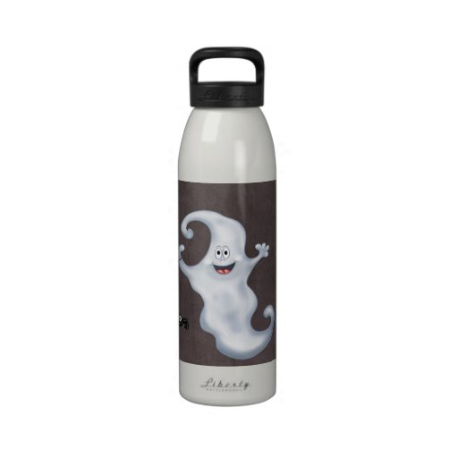 Happy Ghost with Spider Halloween Water Bottle