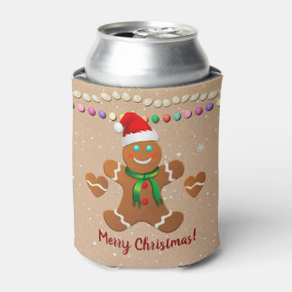 Happy Gingerbread Boy And Gingerbread Girl Can Cooler