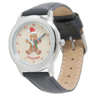 Happy Gingerbread Boy With Santa Hat Watch