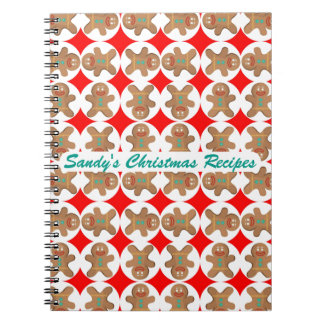 Happy Gingerbread Personalized Christmas Cookbook Notebooks