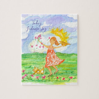 Happy Girl and Dog Flower Meadow Inspirational Jigsaw Puzzle