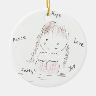 Happy Girl Ceramic Ornament