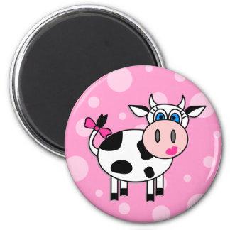 Happy Girl Cow 6 Cm Round Magnet